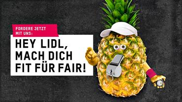 """Kampagnenmotiv von Oxfam Deutschland zur Aktion """"Hey Lidl, mach dich fit für fair!"""""""