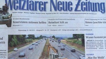 """Titel """"Wetzlarer Neue Zeitung"""" 7/2015"""