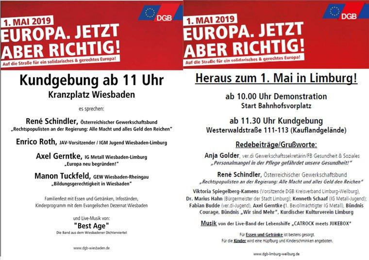 1. Mai im Bezirk Wiesbaden